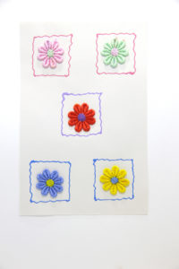 Daisy colours - handmade collage greeting card for all occasions.
