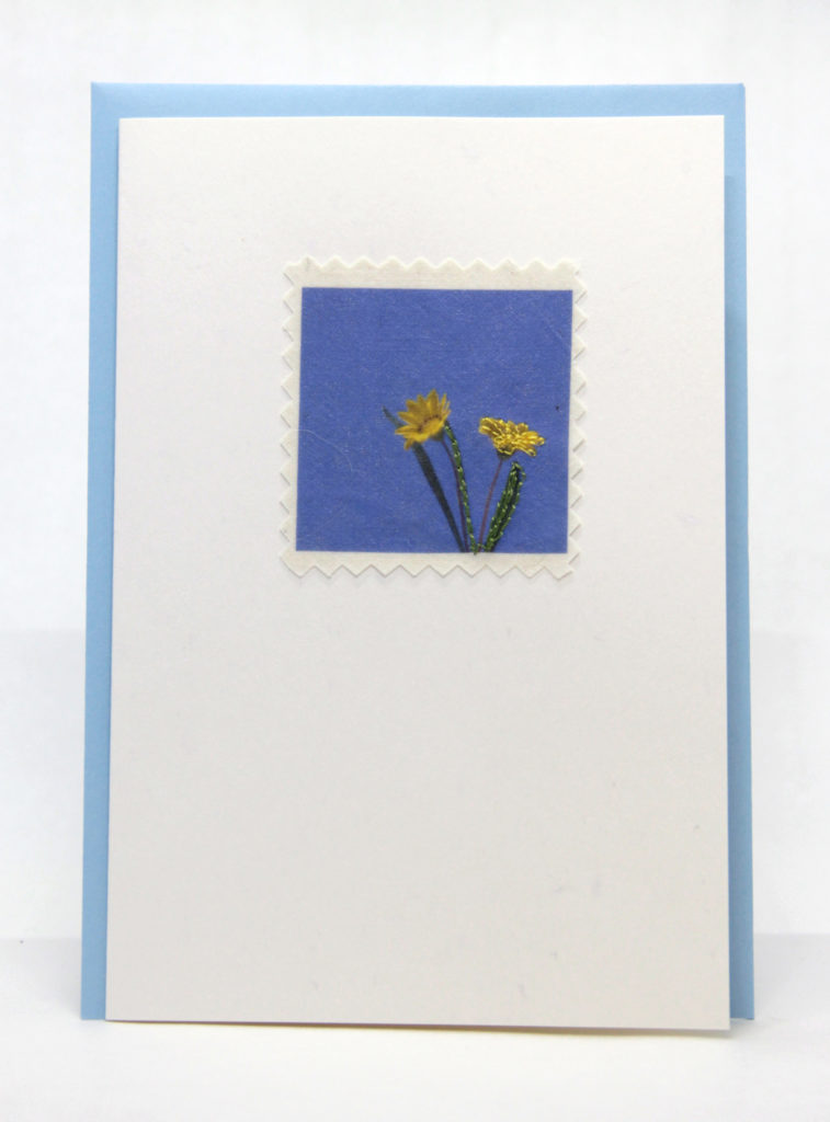 Blue Skies Machine embroidered greeting card