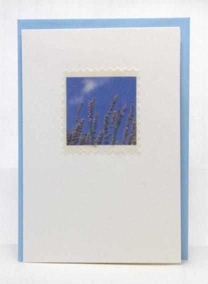 Blue Skies Machine embroidered handmade greeting card